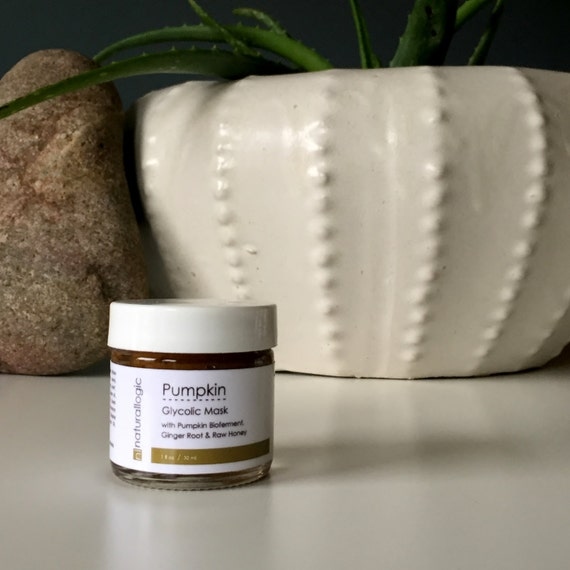 Pumpkin Glycolic Mask. Spa Grade Facial Peel. Mature, Acne Prone, Congested, Anti Aging. Natural Organic Skin Care.