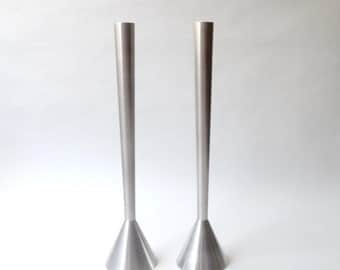 SUMMER SALE Modernist Machined Stainless Steel Candlesticks