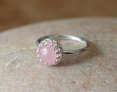 Rose Quartz Ring Or Your Stone Choice, Gallery Princess Bezel, Sterling Silver Ring, Gemstone Ring, Crown Stacking Ring, Size 2 to 15, Pink