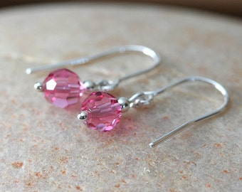 Swarovski Crystal Dangle Earrings • Sterling Silver • Pink Rose • October Birthstone or Your Crystal Choice Birthstone • Gift for Her