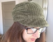 Patchwork Fray Reversible Hat Army Green