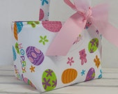 Easter Fabric Candy Basket Bin Storage Container - Hoppy Easter Fabric - PERSONALIZED/ Name Tag Available