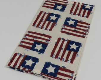 SAMPLE SALE - Ready to Ship - Checkbook Cover - Patriot Flags Fabric