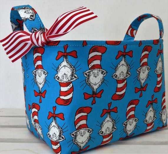 Storage and Organization - Fabric Organizer Container Bin Basket Bag - Made with Licensed Dr. Seuss Cat in the Hat Heads Fabric