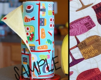 Unpaper Towel | Reusable Paper Towel - Wine Time Tree Saver Towel | Kitchen Towel | Snapping Cloth Paperless Towel