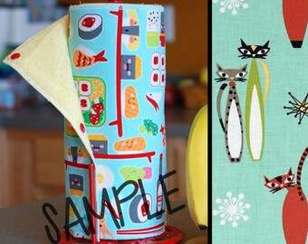 Tree Saver Towels - Atomic Cats - Reusable, Eco-Friendly, Snapping Paper Towel Set - Cotton and Terry Cloth