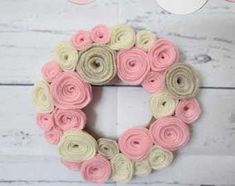 "Tiny Felt Flower Mini Wreath 6"" Pink and Neutrals Nursery Decor"