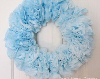 "Blue Wreath, Coffee Filter Wreath, Rustic, Round 17"", Nursery, Wedding, Craft Room, Party Decor"