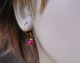 Genuine Ruby and Gold Earrings