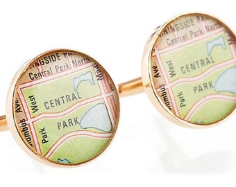Central Park Cufflinks  Bronze New York Antique Map Vintage Globe Cuff Links Gift for Him