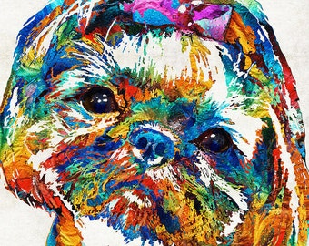 Shih Tzu Art Colorful PRINT from Painting Cute Rainbow Dog Pets Small Doggie Pet Pop Art CANVAS Ready To Hang Large Fun Funny Love Animal