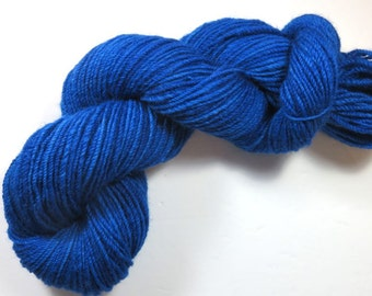 Sale 50 Percent Off -- Hand Dyed Cheviot Wool Hand Spun DK Weight Yarn -- Navajo Plied 3-Ply Doctor Who -- TARDIS (95 grams/ 201 yds)