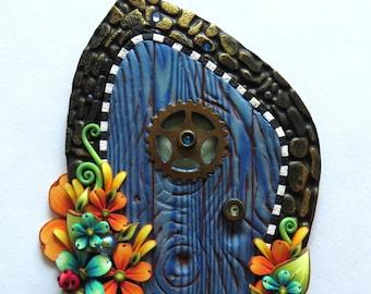 Blue Fairy Door, Pixie Portal Home Decor, Fairy Garden Entrance, Polymer Clay Miniature Door