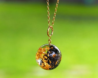 Black Mineral Necklace,  Carborundum and 24K gold Flakes Resin Necklace with Long Gold Plated Sterling Silver Chain, Mineral Jewelry