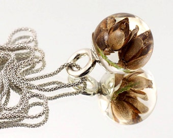 Amazing Thuja Necklace, Silver and Resin Jewellery, Nature Pendant