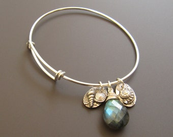Sterling Silver Adjustable Bracelet with Oval Sterling Seashell Charms and Sterling Wrapped Faceted Blue/Green Flash Labradorite Drop