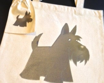 Scotty dog tote and pouch