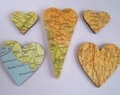 5 vintage map covered small wood hearts scrapbook decor embellishment card making
