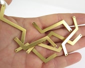 Brass Zig Zag Engravable Charm with Two Holes (6X) (M831)