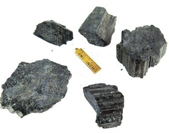 Rough Black Tourmaline Chunks - (2x) (NS837)