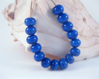 Handmade Striated Blue Lampwork Beads SRA