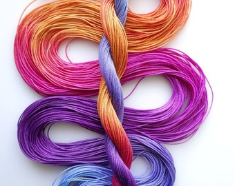 "Size 20 ""Brilliant Sunset"" hand dyed thread tatting crochet cotton"