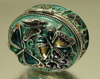 Vintage / estate 1990s signed Monet silver tone, rhinestone paste and resin enamel, butterfly insect trinket / pill box