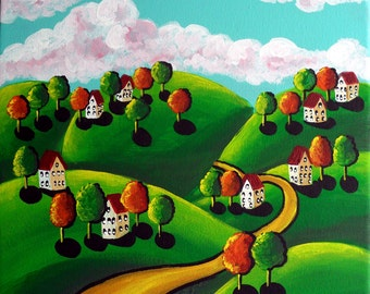 Colorful Magical Landscape Houses Trees Full  Whimsical Original Folk Art Painting