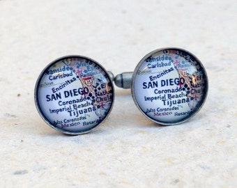 San Diego Map Cufflinks - San Diego, California Cuff Link Set - Featuring Carlsbad, Encinatas - YOU choose your favorite map from 25 choices