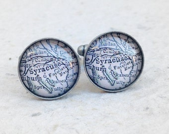 Syracuse Map Cufflinks - Syracuse, New York Cuff Link Set - YOU choose your favorite map from 25 choices
