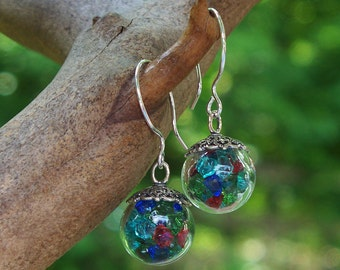 Recycled Vintage Bottle Mixed Glass Glass Orb Earrings/Multi Color Earrings/Recycled Glass Jewelry/Upcycled recycled Repurposed/Vintage