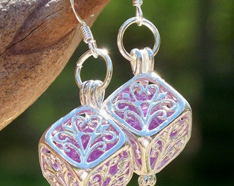 Recycled Amethyst Bottle Earrings