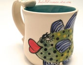 Handmade Ceramic Mug Coffee Cup with Handpainted Fish Bluefin Trevaly Ready to Ship 12.5 ounces Wheel Thrown MG003