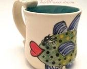 Handmade Ceramic Mug Coffee Cup with Handpainted Fish Bluefin Trevaly Ready to Ship 12.5 ounces Wheel Thrown MG003