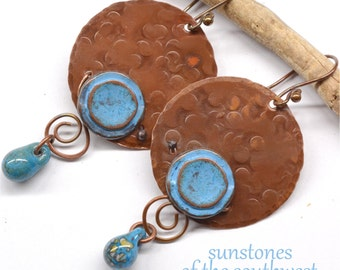 Rustic Copper Earrings E851