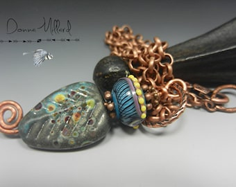 SRA HANDMADE Glass Beads Pendant NECKLACE Donna Millard amulet totem gift her summer hip hippie bohemian leaf turquoise glass rustic