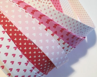 "Half price* 3/4"" Weaving Star Paper~ Pink, Red Hearts (50 strips)"