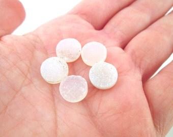 Round Iridescent White Druzy Cabochons 10mm Titianium Quartz Druzy