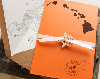 Tropical Wedding Invitation, Printed Pocket Card (Maui, Hawaii) - Design Fee