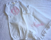 Adorable Monogrammed White and Pink Baby Blanket and Gown Set Personalized Embroidered baby shower gift new baby gift