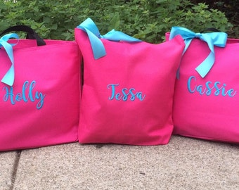 Monogrammed Tote Bag Embroidered Personalized Magnolia -set of 3 - Bridal Party Gift Bridesmaid