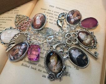 Queen Elizabeth Charm Bracelet, Queen Charm Bracelet, Queen Elizabeth, Queen Elizabeth Bracelet, Charm Bracelet,Pink Gemstone Charm Bracelet
