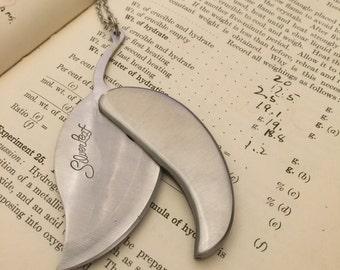 Silver Leaf Pocket Knife Necklace Vintage Pocket Knife Custom Knife Silver Knife Gift for Him Father's Day Gift Utility Knife Men's Gift