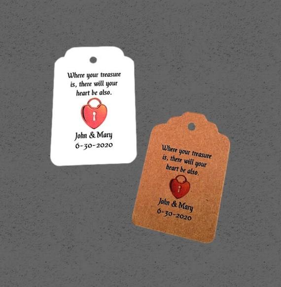 Treasure Tags, vintage card, distressed tag, Wedding Tags, Personalized Tags, set of 50