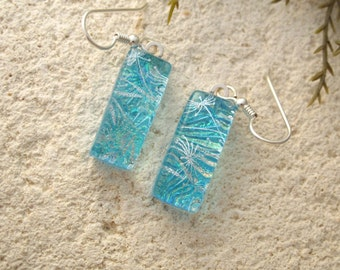 Aqua Blue Silver Earring, Dichroic Earrings, Dichroic Fused Glass Jewelry, Dichroic Jewelry, Dangle Drop Earrings, Glass Jewelry, 050516e104