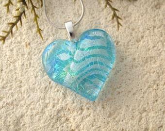 Heart Necklace, Aqua Blue Heart Pendant, Heart, Glass Jewelry, Fused Glass Jewelry, Necklace Included, Glass Heart,Aqua Silver, 052116p100