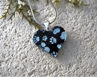 Petite Necklace, Petite Paw Prints Necklace,  Fused Glass Jewelry, Paw Heart Pendant, Dog Paws, Cat Paws, Silver Black Necklace, 070816p104