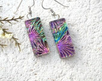 Pink Gold Green Earrings, Rainbow Earrings, Dichroic Earrings, Dangle Drop Earrings, Fused Glass Jewelry, Sterling Earrings, 080516e101