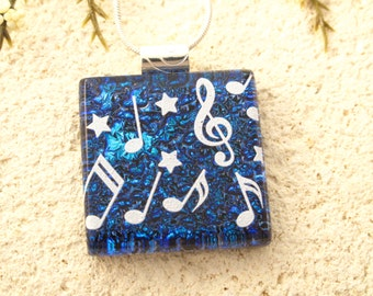 Music Necklace, Musical Dichroic Jewelry,  Fused Glass Jewelry, Cobalt Blue Necklace, Dichroic Pendant, Fused Glass Necklace, 020816p108
