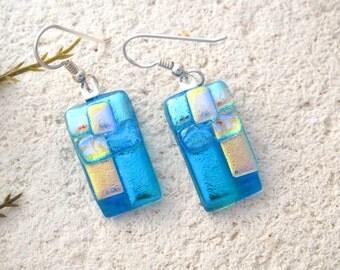 Aqua Gold Blue Earrings, Dichroic Lightweight, Dichroic Jewelry, Fused Glass Jewelry, Dangle Drop Earrings, Sterling, OOAK, 022816e101